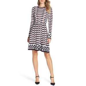 ElizaJ Fit & Flare Jacquard  Sweater Dress PXL
